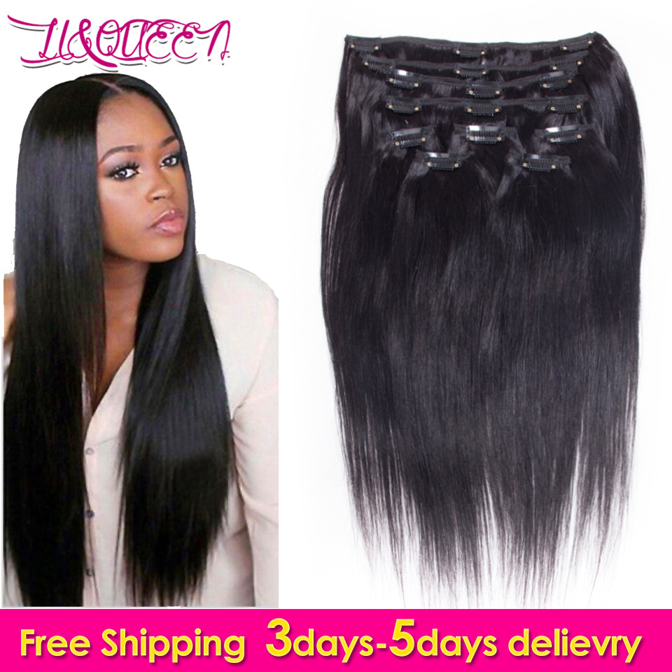 7a Straight Black Natural Hair Clip Extensions 7 Pcsset African