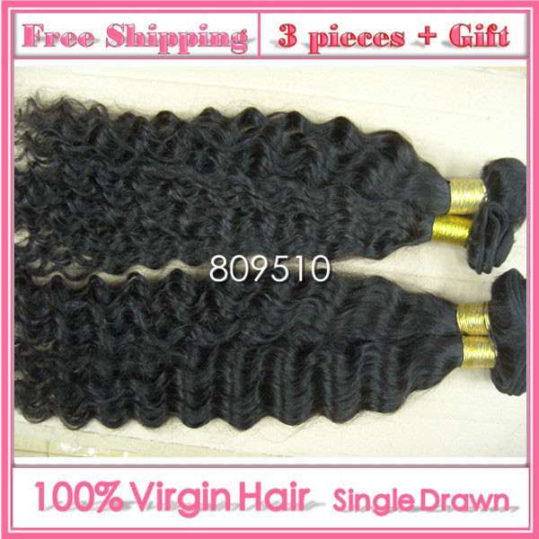 100% Virgem Remi Cabelo Humano Hair Extension 16-30inch, Natural Color/1b#, Curly, 100g/pc, 3 Pieces/ lot, Free Shipping Ring