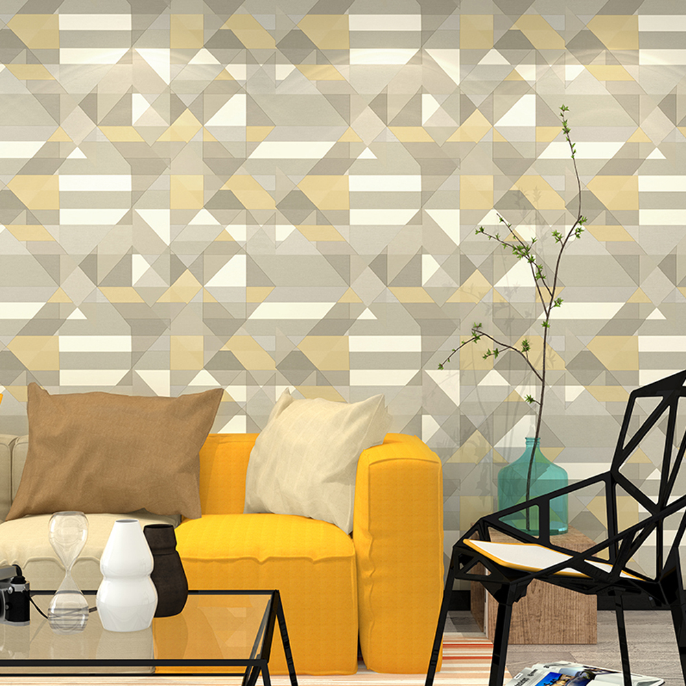 Green/Yellow/Red/Blue Triangle Graphics Wallpaper Roll Modern Geometric Wall Paper modern yellow color triangle handmade