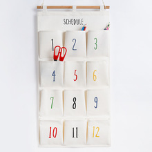 hot deal buy fulllove 12 pockets 32*72cm linen storage bag number print navy hanging organizer for cosmetic books home storage & organization