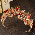 Baroque Gold Vintage Red Crystal Bridal Tiaras Wedding Hair Accessories Silver Rhinestone Pageant Prom Crown for Bride Headbands