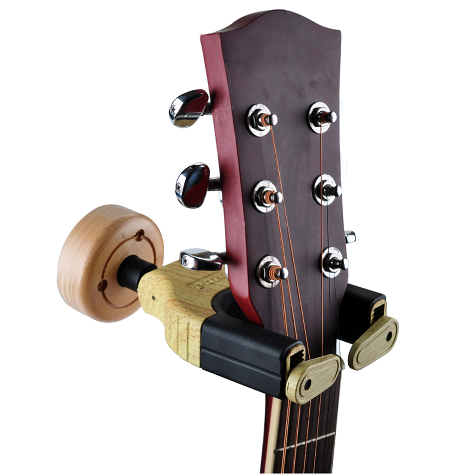 Unique Design Guitar Wooden Hook Holder Wall Mount Stand Rack Bracket Display For Guitars Bass Hot Sale automatic locking fixmee 50pcs white plastic invisible wall mount photo picture frame nail hook hanger