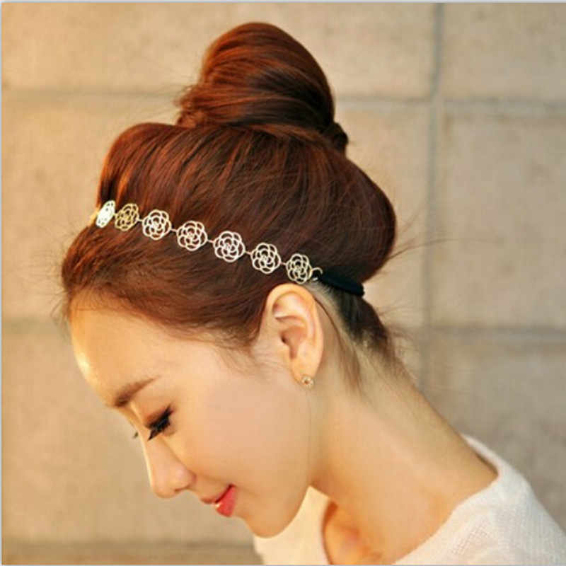 T37 Hot Sale Gold Color Flower Design Headband Romantic Rose Hairband For Women Korean Style Hair Accessories Tiara Wholesale