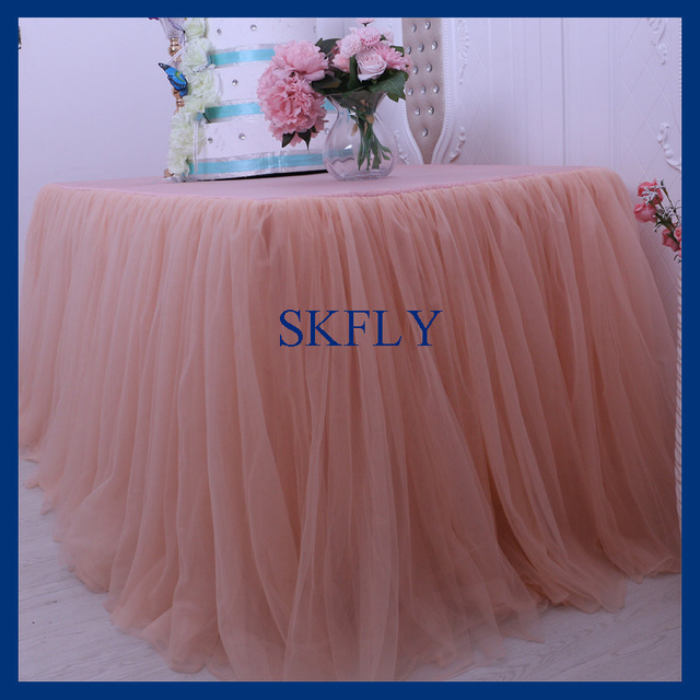 SK005F Nice New Standard 6ft Rectangle Banquet Elegant Puffy Tutu Wedding  Peach Tulle Table Cloth With