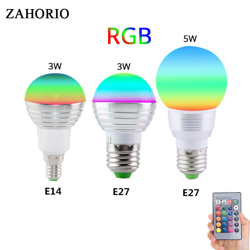 3W 5W E27 E14 RGB LED Bulb Lamp GU10 16 Color Changing Magic Light 85-265V 220V RGB Led Light Spotlight + IR Remote Coontroller