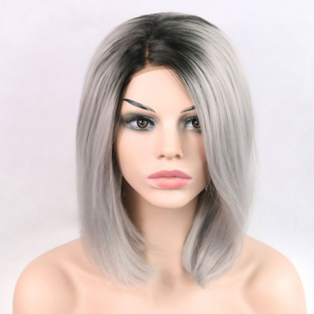 Short Hair Bob Wig Synthetic Lace Front Ombre Gray Lace Front Wig Bob Cheap Wigs-1
