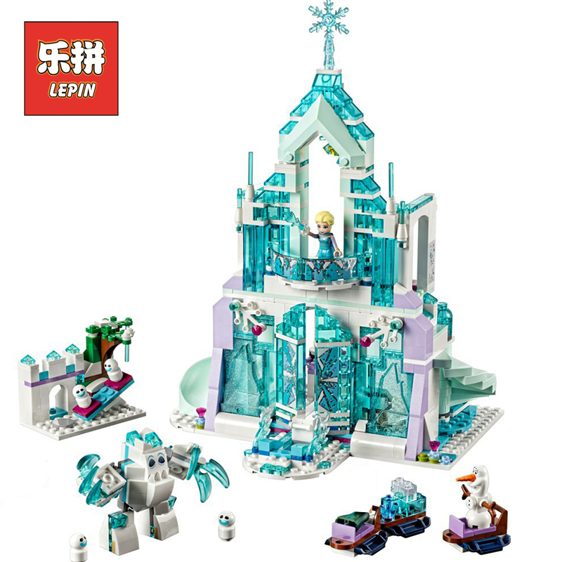 LEPIN 25002 Girl Series Elsa Magic Ice Castle Palace DIY Set Model Building Kits Blocks Bricks Children Toys Christmas Gift lepin 01018 girl series enchanted castle princess diy set doll house model building kits blocks bricks children toys christmas