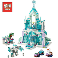 LEPIN 25002 Girl Series Elsa Magic Ice Castle Palace DIY Set Model Building Kits Blocks Bricks