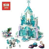 Lepin 25002 فتاة سلسلة إلسا السحر قلعة قصر diy مجموعة نموذج كتل بناء مجموعات طوب الجليد للأطفال اللعب هدية عيد