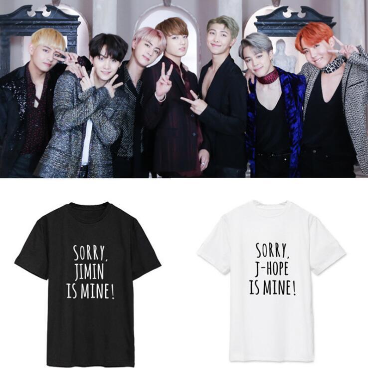 Yeni Kpop BTS Bangtan Boys SUGA JUNGKOOK V Aynı moda Komik çift Yaz Kısa Kollu Tişört