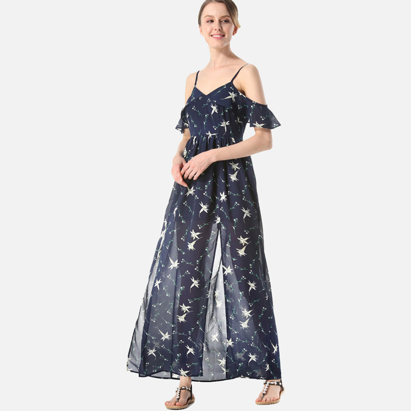 SheBlingBling Stars Print Cami Dress Summer Fashion Open Shoulder Flutter  Sleeve Ruffles Embellished Split Front Maxi Dress-in Dresses from Women s  Clothing ... 2a1bc525c80b