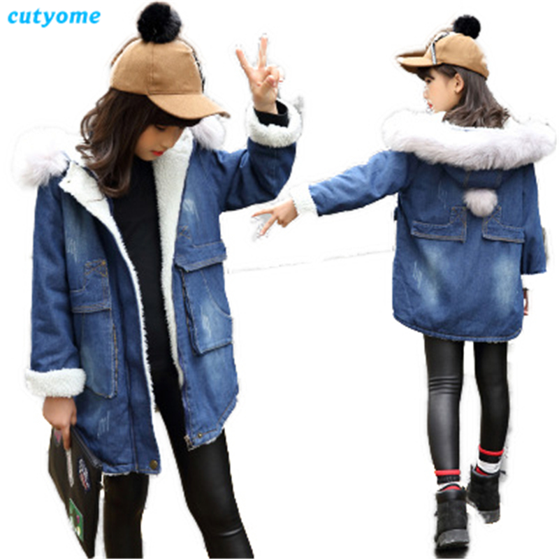 Cutyome Kids Denim Winter Jackets for Girls 2017 Long Sleeve Hooded Thicken Outerwear Coats Teenage Girls Warm Jacket and Coats