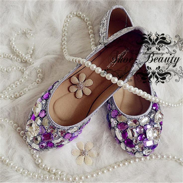 2015 new wedding shoes handmade purple rhinestone flat elegant lady ...