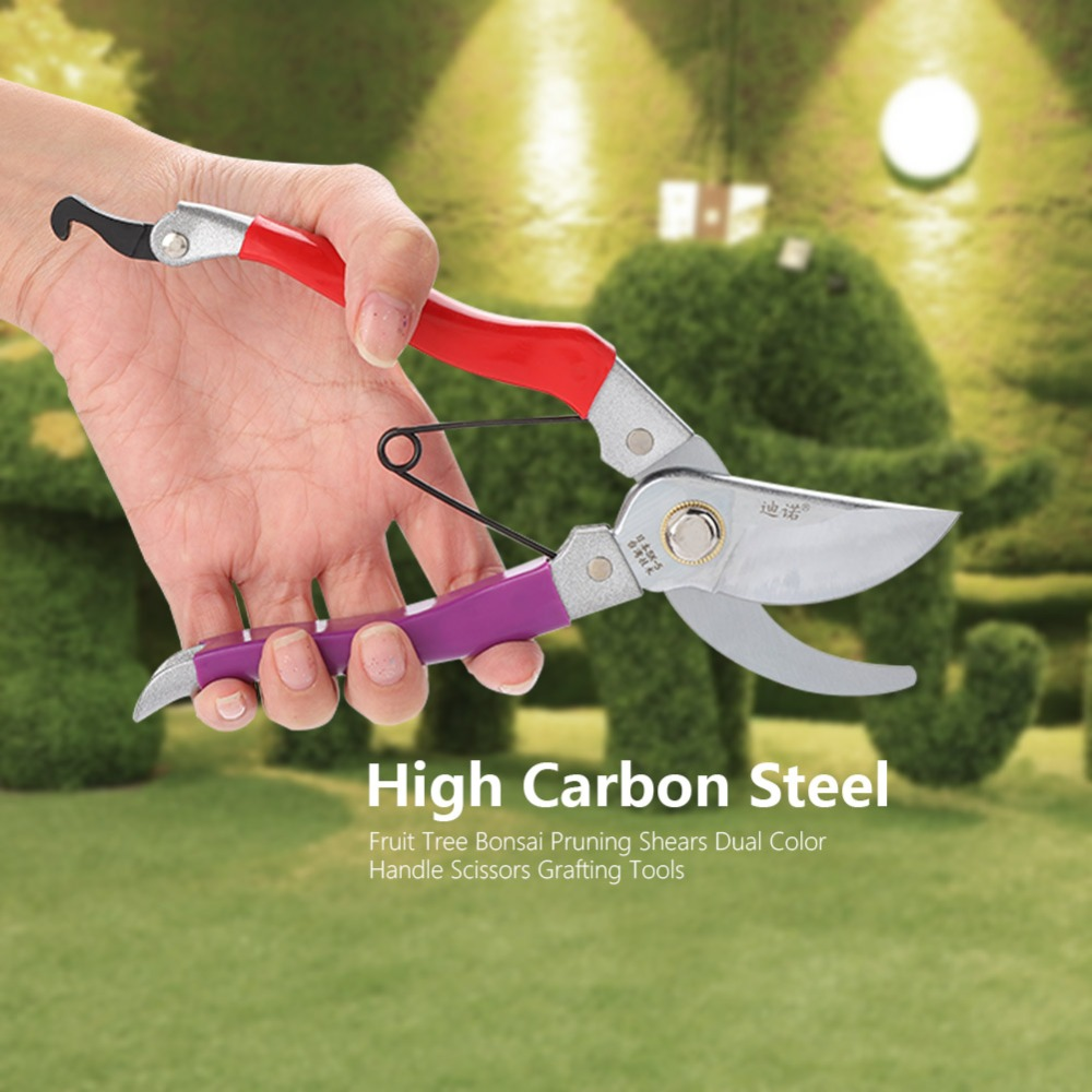 High Carbon Steel Fruit Tree Bonsai Pruning Shears Dual Color Handle Scissors Grafting Tools