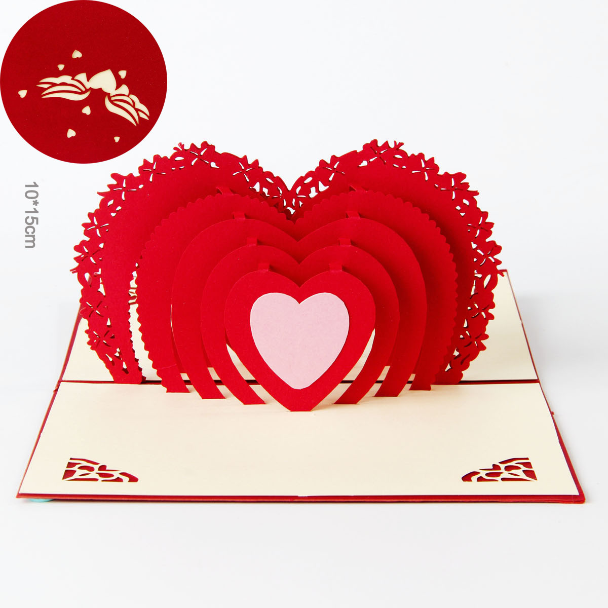 1 PC Valentine\'s Day Cards 3D Stereo Greeting Cards Rectangle Free ...