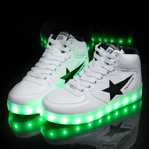 Image 4 - Size 35 44 High Top LED Shoes USB Charging Light up Shoes for Men&Women PU Leather Luminous Glowing Shoe Krasovki with Backlight