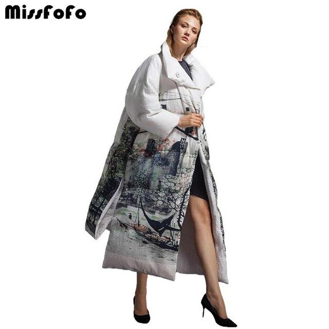 MissFoFo 2017 Новый Модный пуховик китайский стиль гусиный пуховик Женская куртка свободный длинный пуховик выше колена X-long Белый