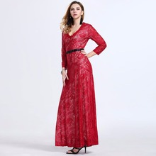 New 2017 Spring Summer Style Women s Lace Patchwork V neck Plus Size Dresses Ladies Casual
