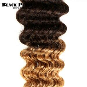 Image 5 - Black Pearl Ombre Deep Wave Brazilian Hair Weave Bundles T1B/4/27 Human Hair Three Tone Blonde Hair 1 / 3 / 4 Bundles Non Remy