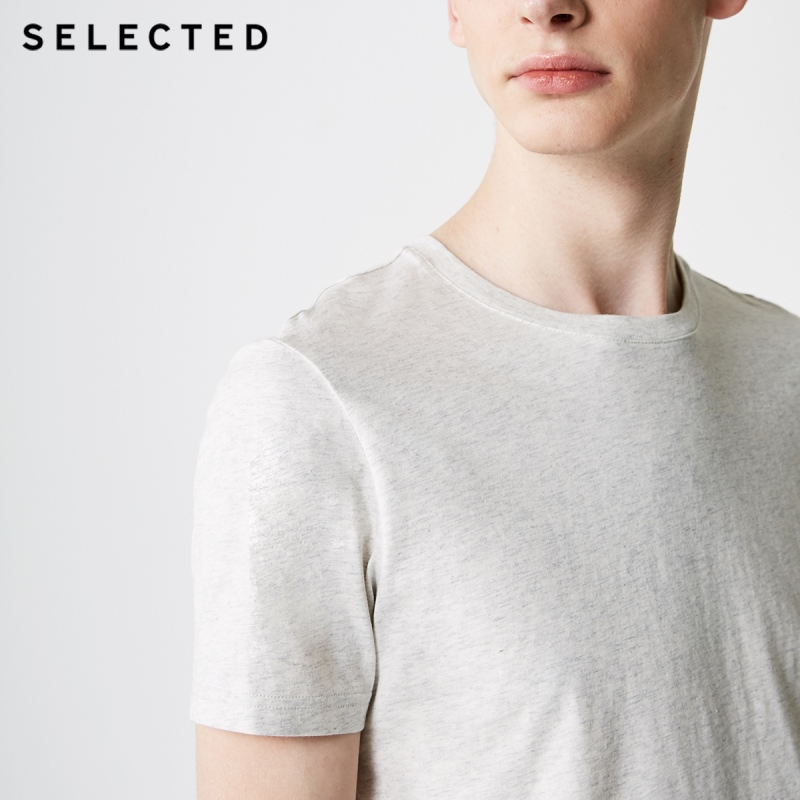 Men's Summer 100% Cotton Pure Color Round Neckline Short-sleeved T-shirt 9