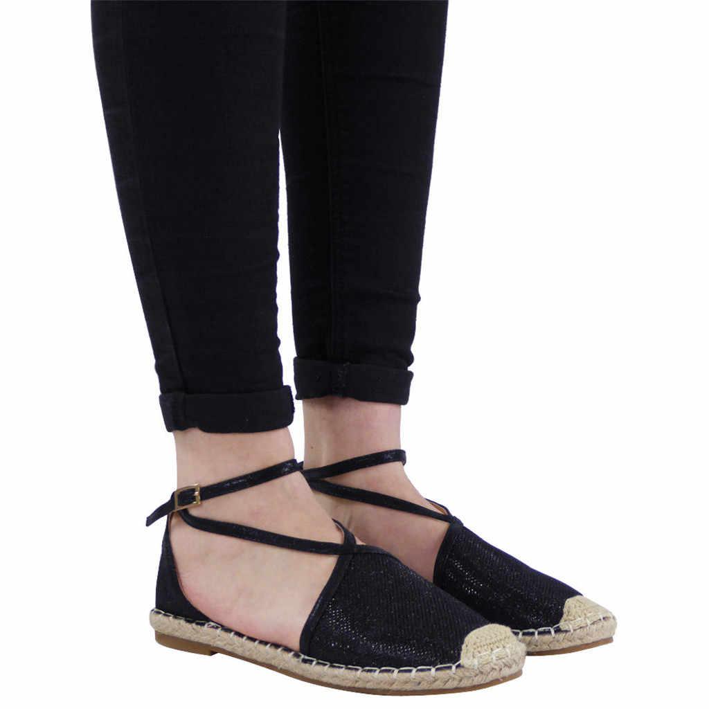 Женская Соломенная повседневная обувь на плоской подошве с круглым носком и