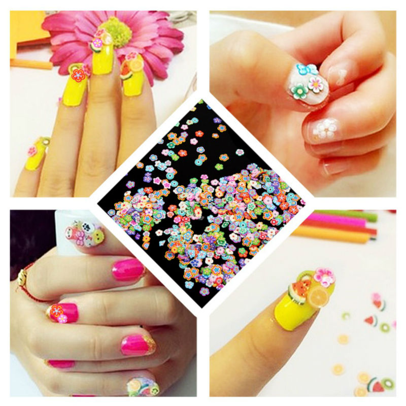 50pcs Fruit Nail Stickers Fimo Canes 3D Beauty Nail Art Decoration ...
