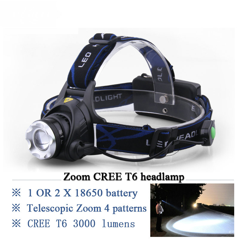 Portable Lighting 3000 lumens CREE headlamp led XML T6 lamp linternas frontales mining head lamp headlight hoofdlamp