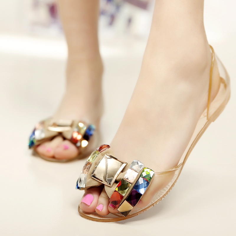 59baf444b69d2d QPQ Women Sandals Summer Bling Bowtie Fashion Peep Toe Jelly Shoes Sandal  Flat Shoes Woman 2 Colors Size 36 40-in Women s Sandals from Shoes on ...