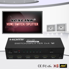 VOXLINK 2X4 HDMI 3D True Matrix Switch Splitter 2 in Source 4 Out Display With Spdif Audio + Remote 4K 1080P HDMI 1.4