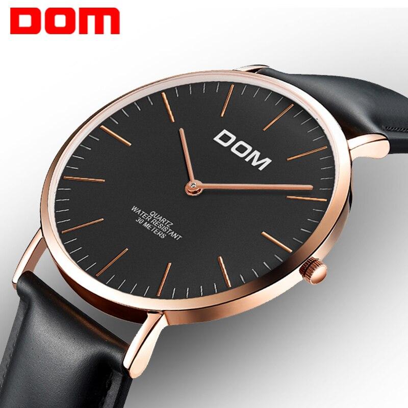 цена на Watch men DOM Top Brand Luxury Quartz watch Casual quartz-watch leather Mesh strap ultra thin clock male Relog M-36GL-1M