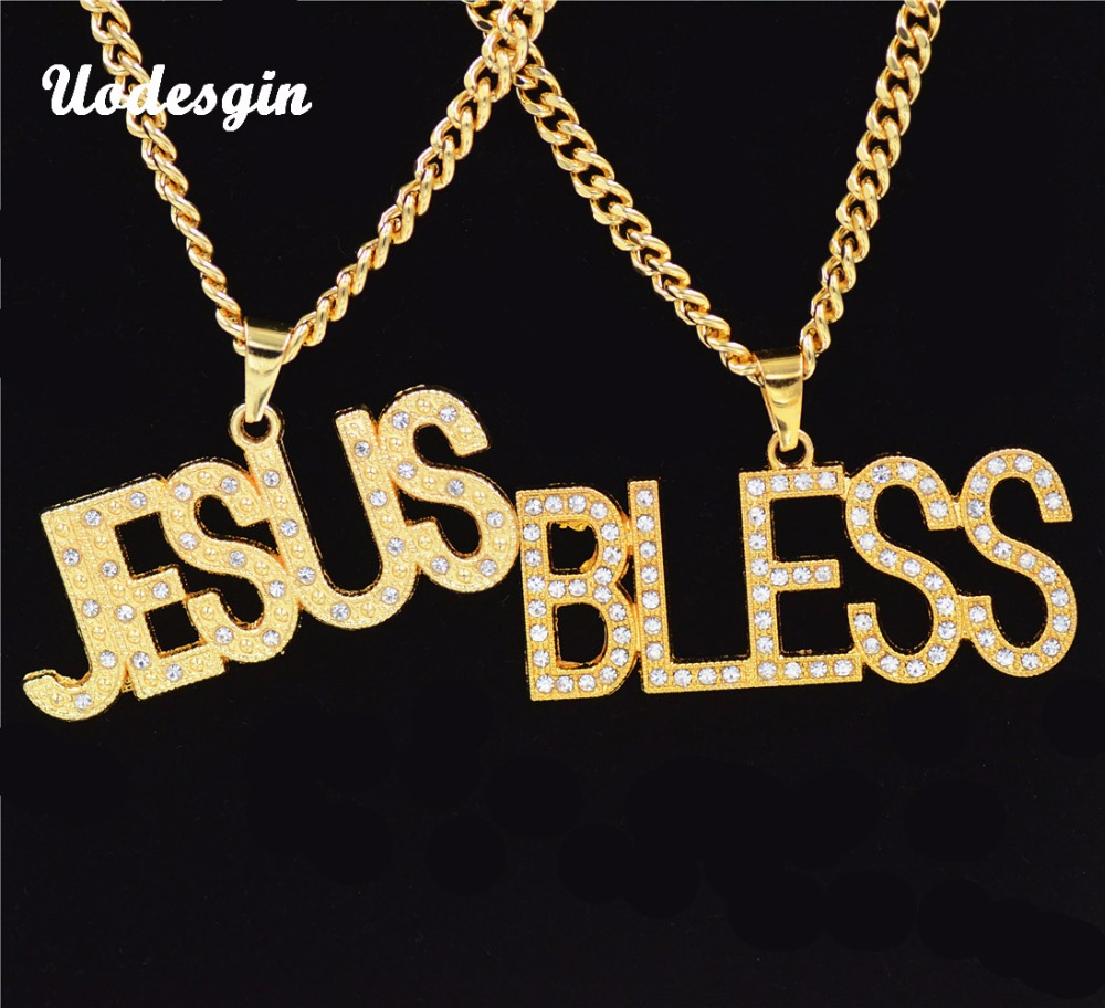 Uodesign Hip Hop Iced Out Bling Full Rhinestone Letter JESUS&BLESS Man Pendants Necklaces Gold Color Necklace for Men Jewelry classic design tungsten carbide man s pendants necklace for man s fasion jewelry silver black gold blue color titanium necklace