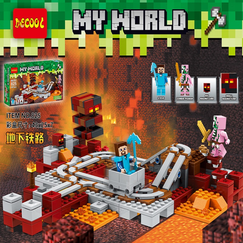 Decool 825 387pcs Compatible LegoINGlys My World 21130 The Nether Railway Building Blocks set Toys for MC Minecraft for lepin's lepin my world minecraft 18038 527pcs the nether portal building blocks bricks enlighten toys for children compatible with 21143