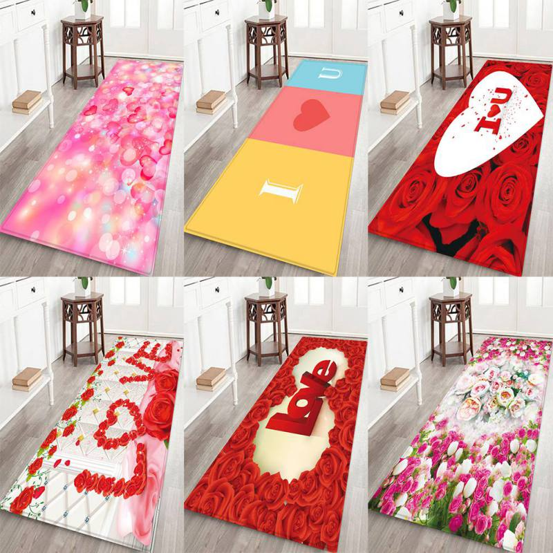 Us 4 33 22 Off Valentine S Day Love Flower Pattern Thick Flannel Carpet Rug Non Slip Backing Soft Floor Mat For Home Hotel Living Room Bedroom In