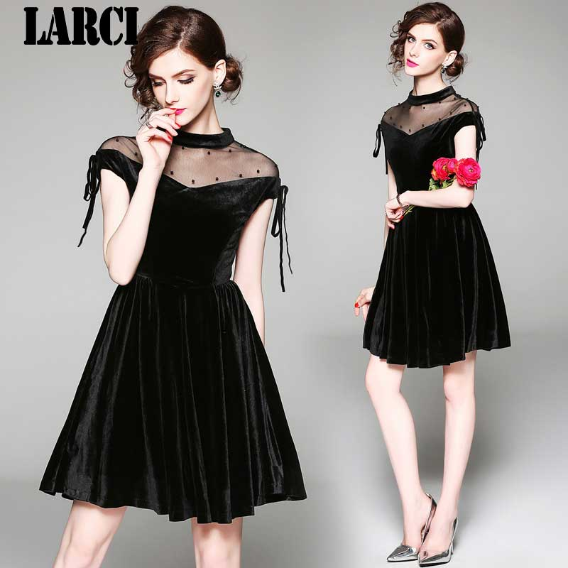 LARCI Hollow Out Mesh Velvet Spliced Summer Short Sleeve Knee Length Dress 2018 New Women Black Dress Party Sundress N9547