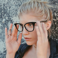 ROYAL GIRL Cat Eye Women Sunglasses Brand Designer Glasses Vintage Mirror Classic Clear Lens Sunglasses Ss099