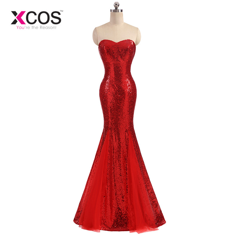 XCOS Silver Red Sequin   Prom     Dress   Mermaid Evening Gowns Sweetheart Floor Length Occasion   Dresses   for Women vestido de gala 2018