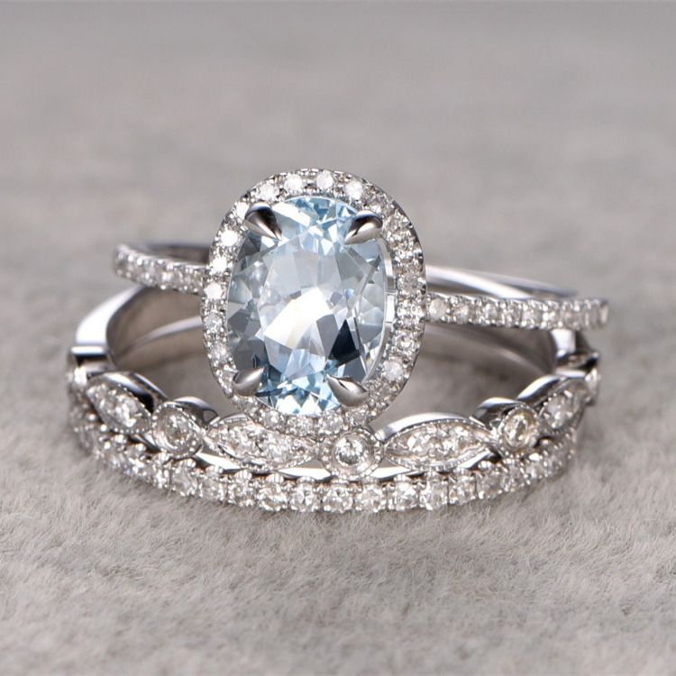 3pcs 1.3CT Oval Cut Aquamarine Ring Bridal Set Engagement