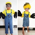 2015 halloween costume for kids yellow blue minions costume Kids Boy Girl performance clothing set costume+gloves+hat