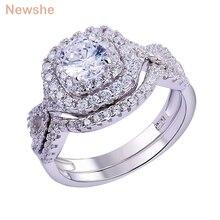 Newshe 2 adet düğün yüzüğü setleri klasik takı 1.9Ct AAA CZ hakiki 925 ayar gümüş alyans kadınlar için JR4844