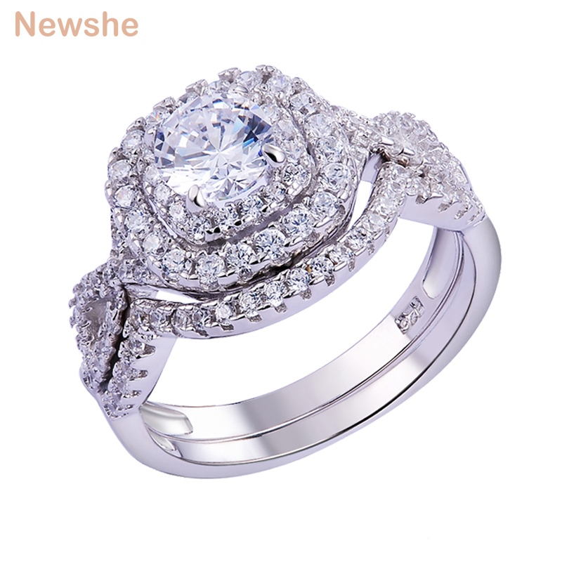 Wedding Rings Sets.Us 21 59 10 Off Newshe 2pcs Wedding Ring Sets Classic Jewelry 1 9ct Aaa Cz Genuine 925 Sterling Silver Engagement Rings For Women Jr4844 In Rings
