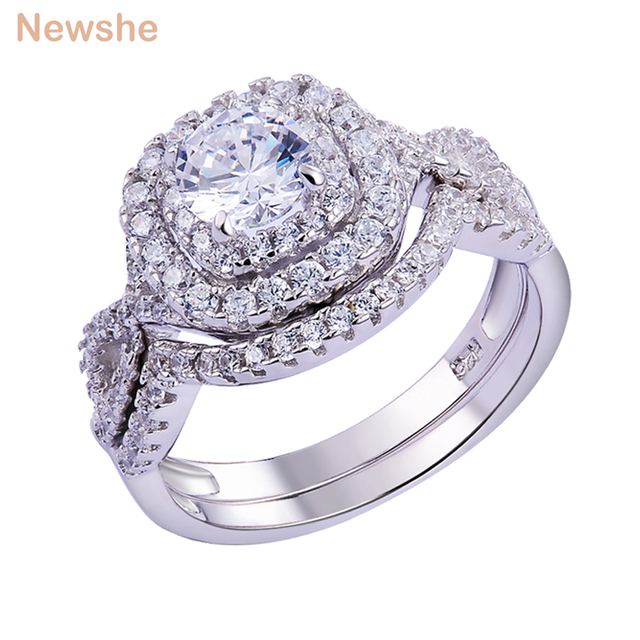 Newshe 2Pcs Wedding Ring Sets Classic Jewelry 1.9Ct AAA CZ Genuine 925 Sterling Silver Engagement Rings For Women JR4844