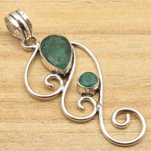 Silver Plated Faceted Green emrald Fancy Stone Pendant INDIAN Art JEWELLERS