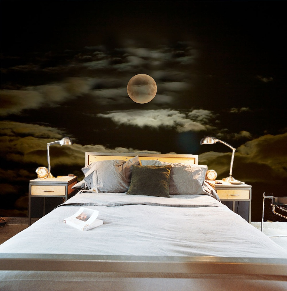 [Self-Adhesive] 3D Dark Night Moon Clouds 42 Wall Paper Mural Wall Print Decal Wall Murals