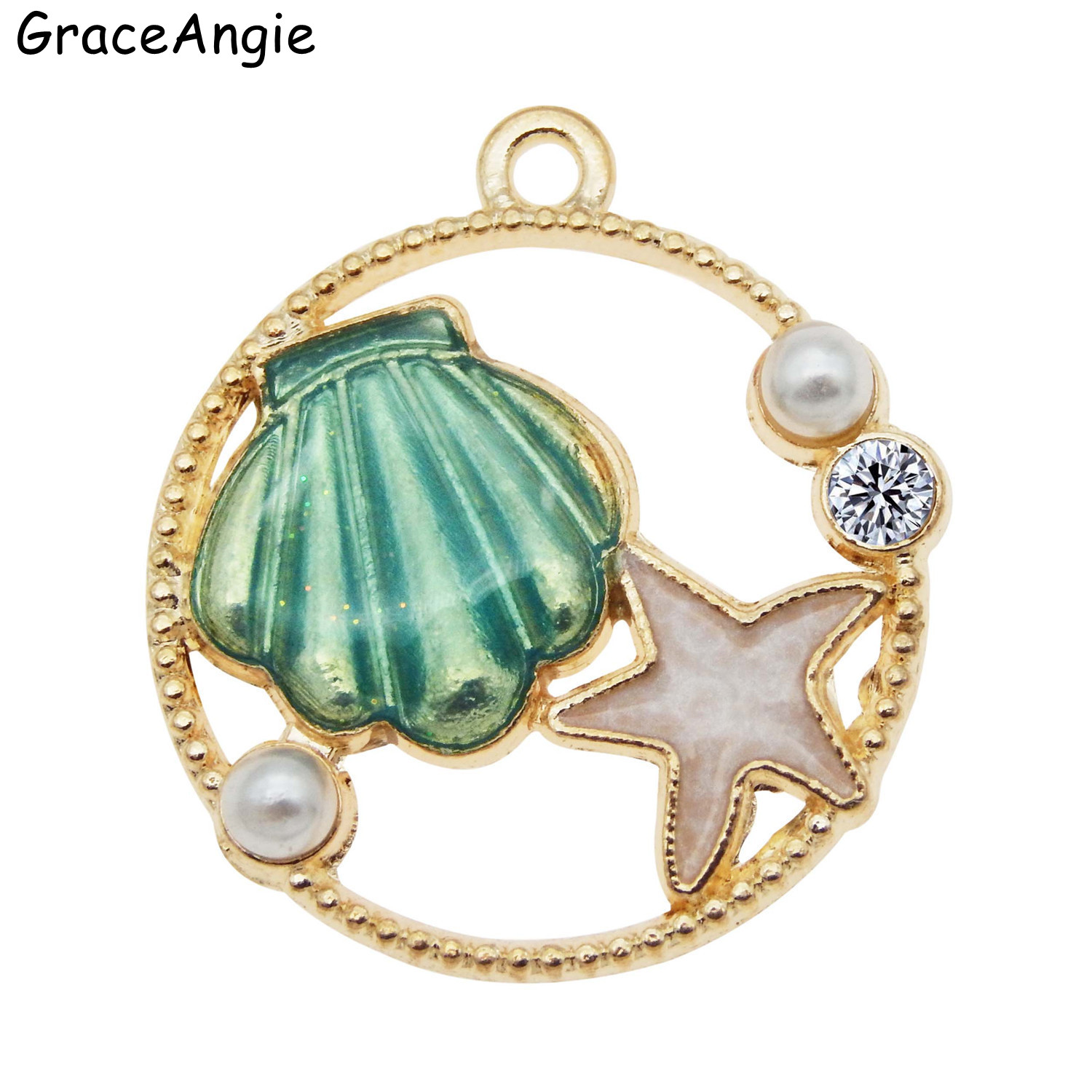 3pcs 28 25mm Couch Shell Pendant For Necklace Bohemia Sea Jewelry Earrings Making With Star Round Pearls Charms in Circle in Charms from Jewelry Accessories