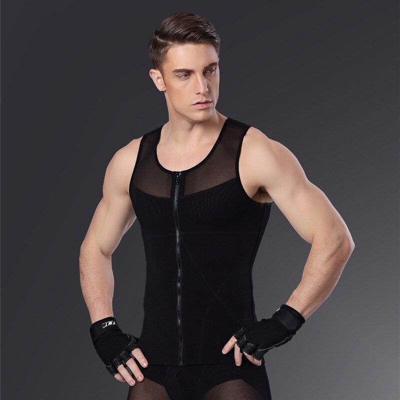 Expressief Mannen Afslanken Buik Vest Body Shaper Fitness Mannen Thermo Vetverbranding Shapewear Taille Zweet Corset Ademend Mesh Rits Vest Verlichten Van Reuma En Verkoudheid