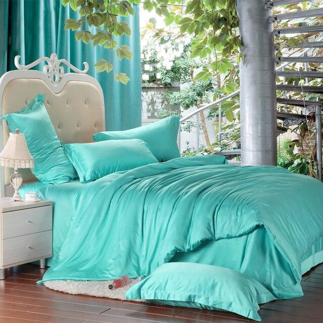 Luxo verde azul turquesa jogo de cama de seda king size rainha
