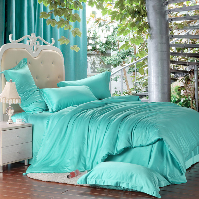 Luxury turquoise blue green bedding set silk king size queen quilt