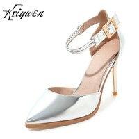 Kriywen תמציתי נשים עקבים גבוהים סקסית גברת מותג נעליים של צד אישה משאבות אבזם נעלי נעליים עקב האופנה חתונת הכלה ילדה הנעלה