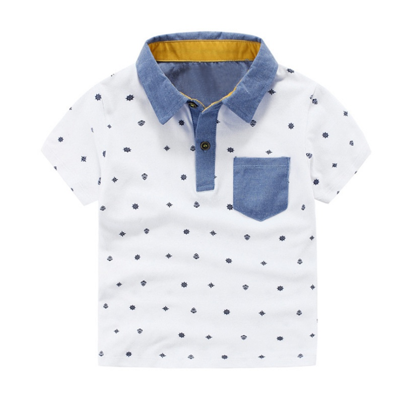 цены Summer Simple Short Sleeve Boys Turn-Down Collar Shirts Children Printed Shirt Top Tees Kids Shirt Children Clothing New