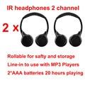 Universal precio Barato 2 unids auriculares infrarrojos de doble canal Inalámbrico IR para auriculares estéreo para el coche reposacabezas DVD de techo TV